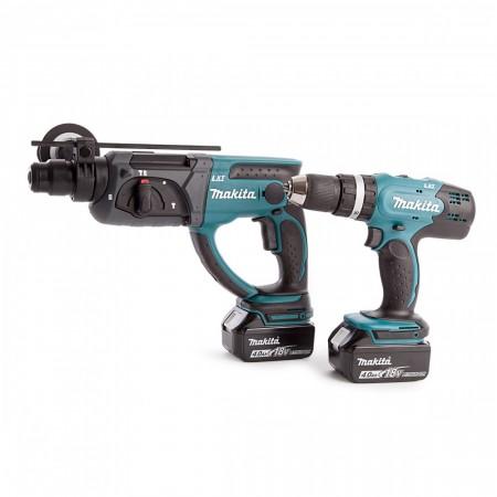 Makita DLX2025M 18V 2-delers batteriverktøyet sett, SDS+ borhammer og combi drill (2x4Ah)