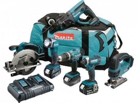 Makita DLX6068PT 18V 6-delers batteriverktøy sett (2 x 5,0 Ah batterier)