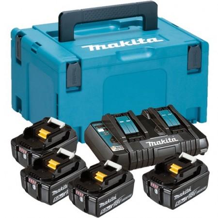 Makita 197626-8 18V Stor batteripakke, 4 x 5Ah BL1850B + DC18RD hurtiglader levert i Makpac koffert