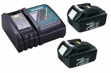 Makita batterisett 2 x BL1830 3Ah 18V batteri og Makita DC18RC hurtiglader