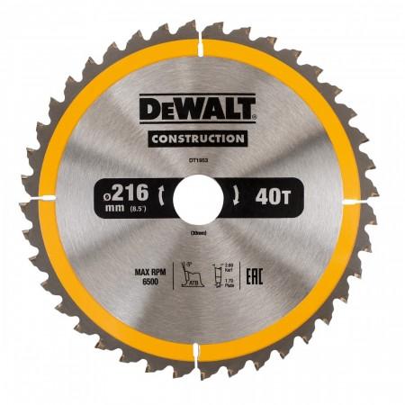 Dewalt DT1953 Konstruksjon sirkelsagblad 216mm x 30mm x 40 Tenner