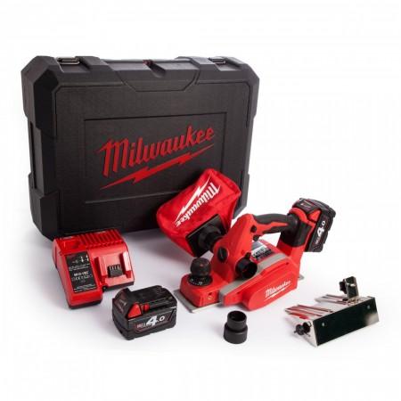 Milwaukee M18 BP 18V elektrisk høvelsett (2 x 4.0Ah batterier)