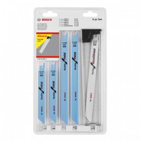 Bosch 2607010906 6-delers bajonettsagsett for metall levert i praktisk holder