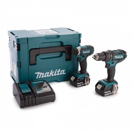 Sjekk prisen! Makita DLX2131J 2-delers batteriverktøysett DHP482 slagdrill + DTD152 slagtrekker(2 x 3Ah)
