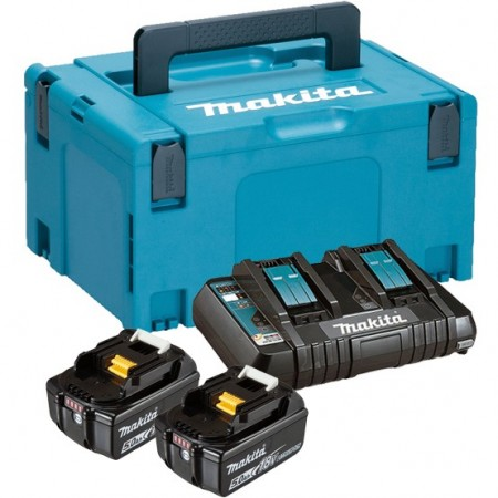 Makita 197629-2x5Ah batteri + DC18RD lader levert i Makpac koffert