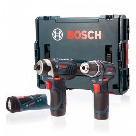 Bosch GSR10.8-2-LI skrudrill + GDR10.8V-LI slagtrekker + GLI10.8-LI LED lommelykt i L-Boxx (2 x 1,5Ah batterier)
