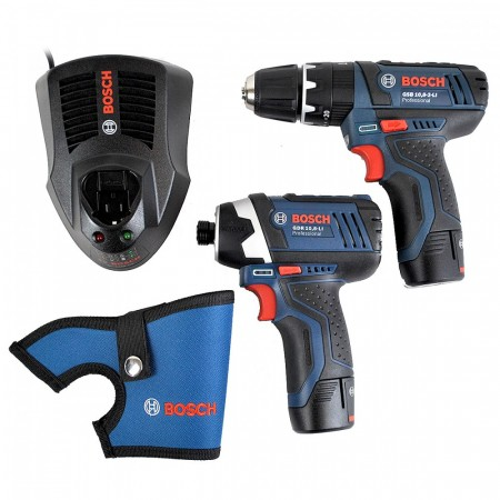 Bosch GSB10.8-2-LI combi drill + GDR10.8-LI slagtrekker (2 x 2,0 Ah batterier) i L-Boxx