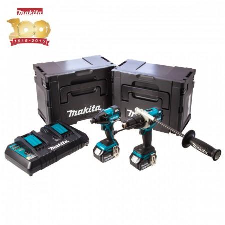 Makita DLX2040SPE Metallic 18V B�rstel�s li-ion 2-delers kit (2 x 5ah batt) med Twinport lader og 2 x MakPac -