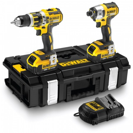 Dewalt DCK250M2 18V børsteløs combi drill og slagtrekker twinpack (2 x 4ah batterier)