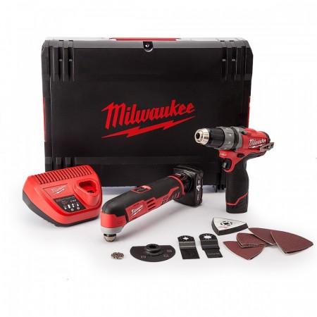 Sjekk prisen! Milwaukee M12SET2A 2-delers 12V verkt�ysett (1 x 2.0Ah, 1 x 4.0Ah batt)
