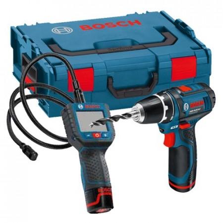 Bosch GOS10.8V-LI/GSR10.8-2-LI 10.8V Inspeksjonskamera + Combi drill (2 batterier) i L-Boxx