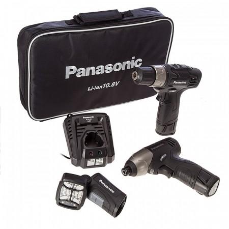 Sjekk prisen! Panasonic EYC110LA2L 10.8V skrudrill / slagtrekker / lykt ( 2x1,5 Ah batt)