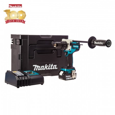 Kraftpakke! Makita DHP481SP1R børsteløs 18V combi (1x5Ah batteri) i MakPac koffert