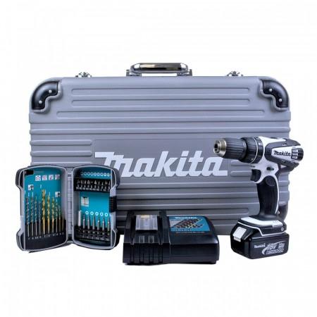 Makita DHP482RFE 18V drillsett med bits og borsett (1 x 3Ah batteri)
