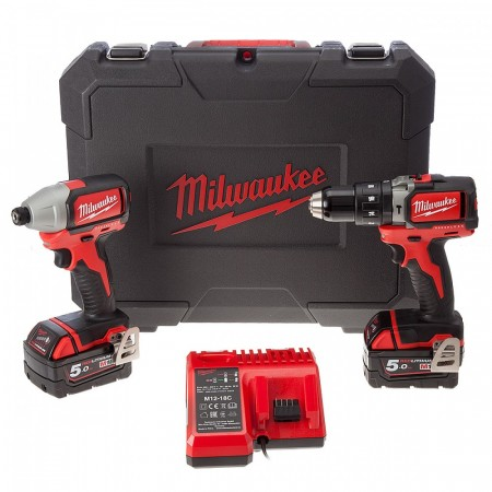 Sjekk prisen! Milwaukee BLPP2B-502C 18V 2-delers børsteløs batteriverktøysett (2 x 5.0Ah batterier)