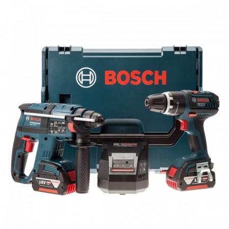 Sjekk prisen! Bosch GBH18V-EC + GSB18V-LI Combi -  batteridrevet SDS+ slagdrill (2 x4Ah batt)
