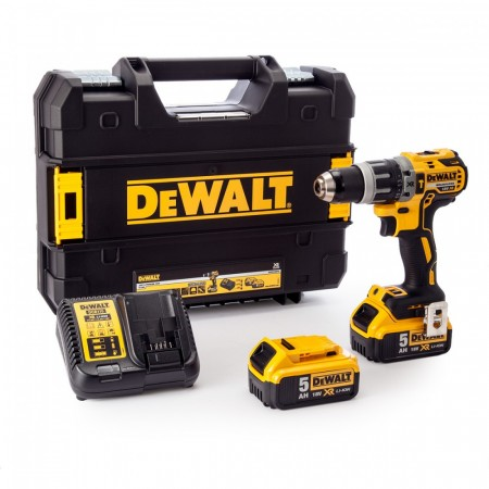 Dewalt DCD796P2 18V børsteløs combi drill 18 V Lithium-Ion komplett med 2 x 5.0Ah batterier, lader og Tstak Koffert