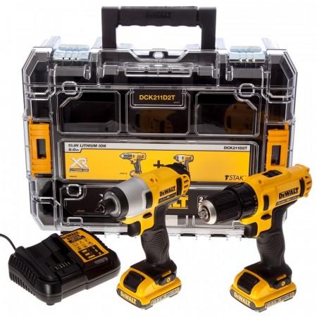 Dewalt DCK211D2T 10.8V  2-delers batteriverktøysett, skrudrill og slagtrekker (2 x 2 Ah)