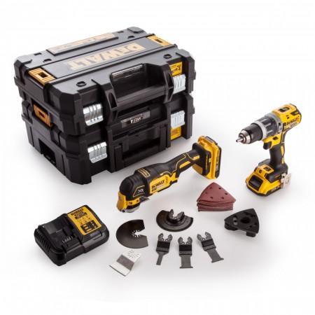 Dewalt DCK208D2T-N G2 18V Twinpack DCD796 combi Drill, DCS355 multikutter, 2 x TSTAK bokser (2 x 2.0Ah batterier)