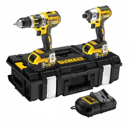 Dewalt DCK250P2 18V børsteløs combi drill og slagtrekker twinpack (2 x 5ah batterier)