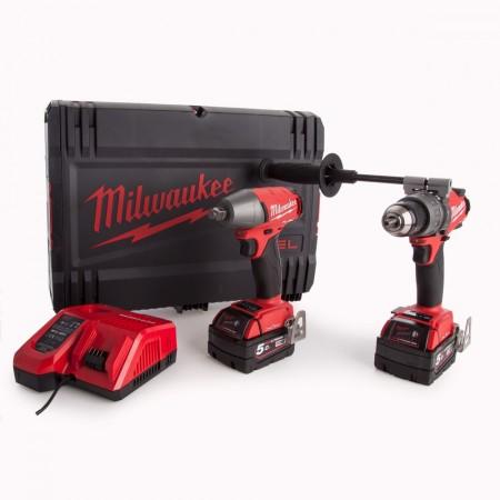 Milwaukee M18ONEPP2B-502X M18 Twinpack, børsteløs combi drill og muttertrekker (2x5Ah batterier)