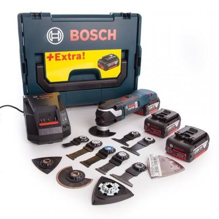Bosch GOP 18V-28 Børsteløs, professional batteridrevet multikutter med mye tilbehør (3 x 5,0 Ah batterier)