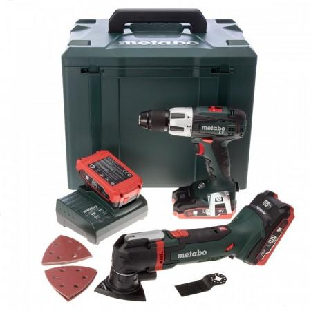 Metabo MT18LTX 2-delers 18V batteripakke med multiverktøy + SB18LT Combi Drill (3 x 3.1Ah LIHD batterier)