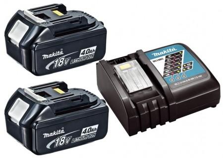 NYTT! Makita batterisett 2 x BL1840B 4Ah 18V batteri og Makita DC18RC hurtiglader