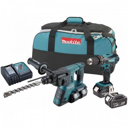 Makita DLX2069MX2 18V 2-delers batteriverktøysett (4 x 4Ah batterier) - Combi drill + borhammer