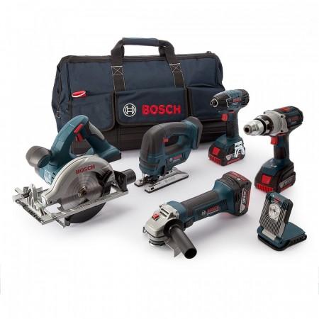 Bosch BAG + 6RS5 6-delers batteriverktøy sett (2 x 5Ah batteri)