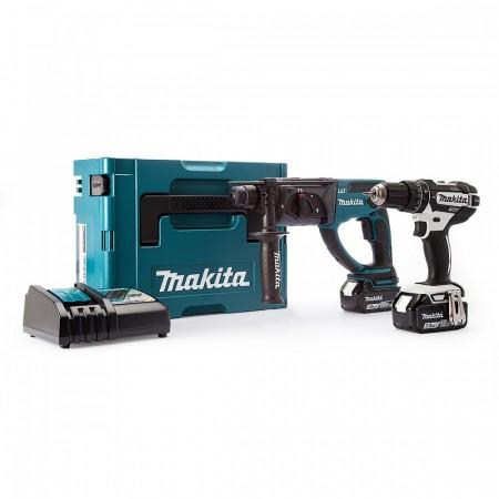 Makita DHP482RFWJ Combi Drill + DHR202Z SDS+ borhammer (2 x 3Ah batterier)