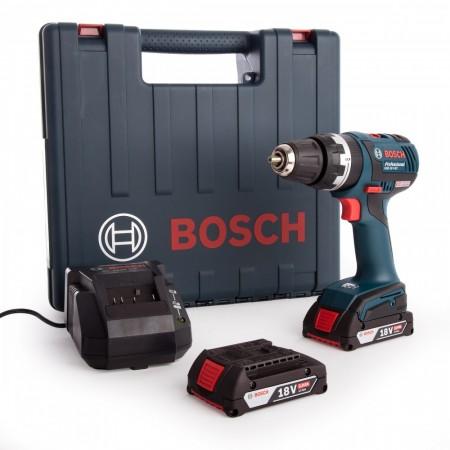 Sjekk prisen! Bosch GSB18VEC 18V DynamicSeries bøsteløs combi drillsett (2 x 2 Ah batterier)