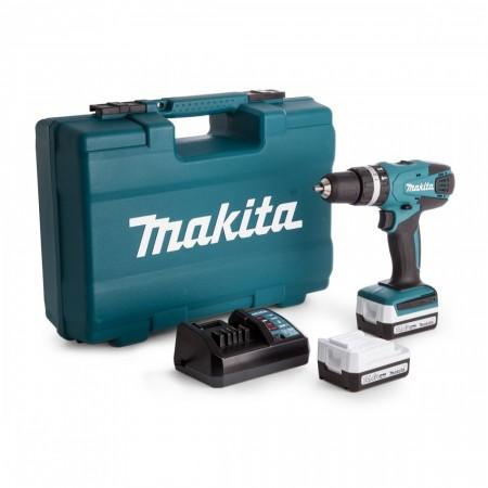 Makita HP347DWEX3 Combi drillsett 14,4V G-serien (2 x 1.3Ah batterier) med 74-deler tilbehørssett