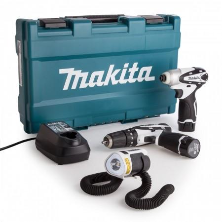 Makita DK1486W 3-delers 10,8V sett Combi drill + slagtrekker + lykt 10.8V  (2 x 1.3Ah batterier)