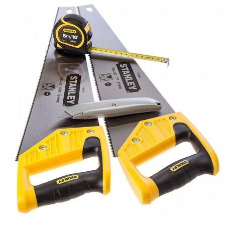 Stanley STHT9-98053 9-98-053 Twin Pack 500mm håndsager, kniv & 5m målebånd