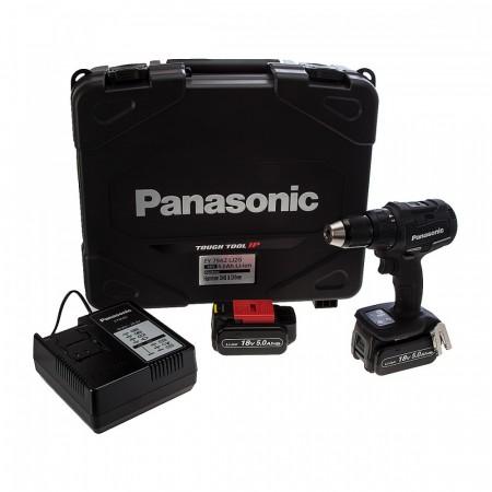 Anbefales! Panasonic EY79A2LJ2G combi drillsett med dual spenning 14,4 / 18V børsteløs drill (2 x 18V 5.0Ah batterier)