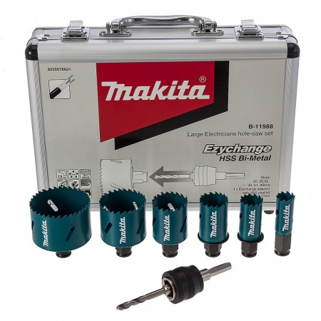 Høy kvalitet! Makita B-11988 Elektriker hullsag sett Ezychange HSS Bi-Metal / trevirke