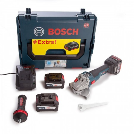 Bosch GWS 18V-125 SC Tilkoblet, børsteløs motor, profesjonell, batteridrevet, høyverdig vinkelsliper (2 x6,3 Ah 1 x5,0Ah