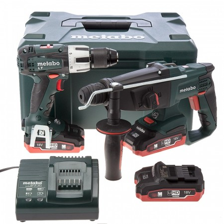 Metabo KHA18LTX SDS Hammer + SB18LT Combi Drill 18V batteridrevet twinpack (3 x 3.1Ah LIHD batterier)