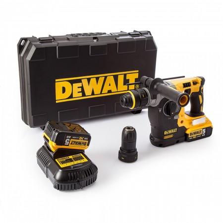 Dewalt DCH274P2 18V XR li-ion SDS+ borhammer + selvspennende chuck (2 x 5ah batterier)