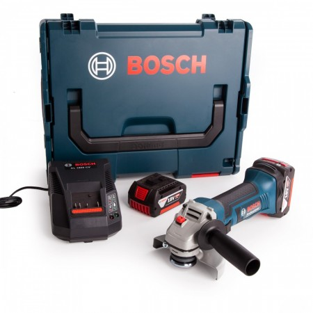 Sjekk prisen! Bosch GWS18-125V-LI 18V vinkelsliper sett i L-Boxx (2 x 4Ah batt)