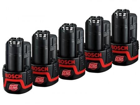 Bosch 10,8V batteri deal: 5 x 2,0Ah lithium batterier
