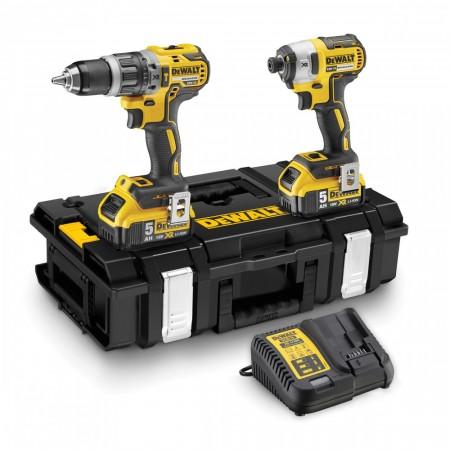 NYHET! Dewalt DCK266P2 18V Combi drill og slagtrekker børsteløs Kit (2 x 5.0Ah batterier)