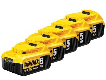 Dewalt DCB184 18V 5Ah lithium batteri (5stk batterier)