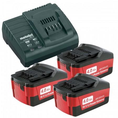 Metabo 3 x 4Ah li-ion batterier og ASC30 lader