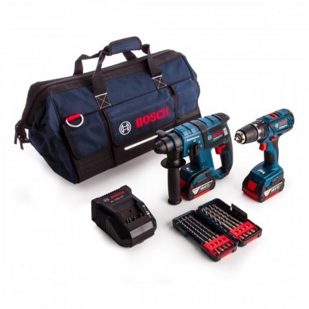 Bosch GBH18V-EC + GSB18-2-LI Plus -2-delers 18V batteriverktøy SDS+ borhammer og combi drill Twinpack (2 batterier)
