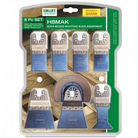 Smart H8MAK 8-delers multikutter blad sett med quick release bytte