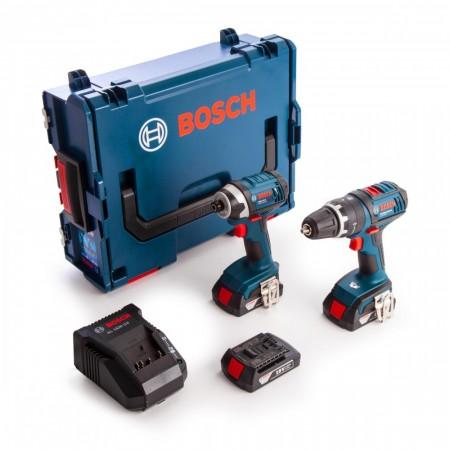 Bosch 2-delers 18V batteridrevet drillsett, combi drill + slagtrekker (3 x 1.5Ah batterier) i L-Boxx