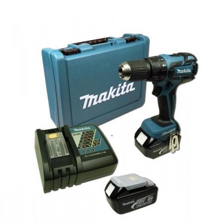 Anbefales! Makita BHP459REF 18V drillsett m/b�rstel�s motor (2x3Ah batt)