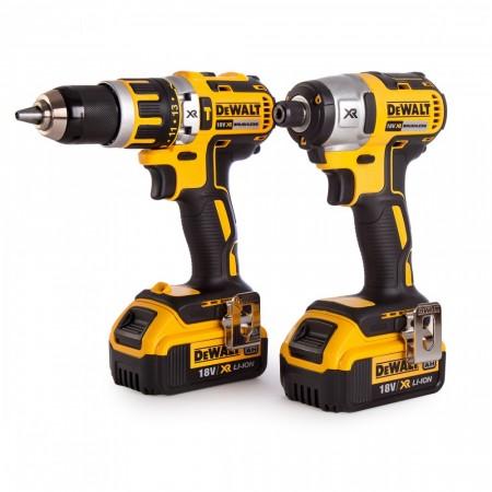 Sjekk prisen! Dewalt 18V 2-delers børsteløs drillsett, DCD795 & DCF886 (2x4Ah batt)
